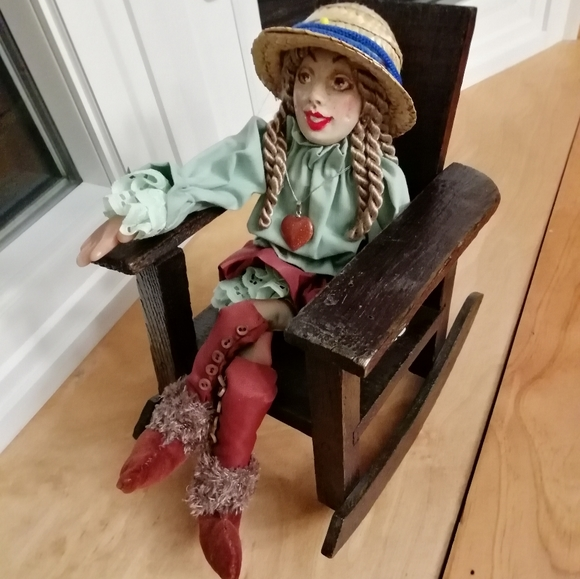 Vintage Craft Doll + Handmade Wooden Rocking Chair